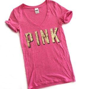 PINK Victoria's Secret gold sequin tee